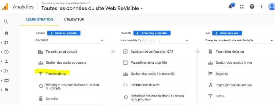 tutoriel pour enlever ses propres visites sur google analytics