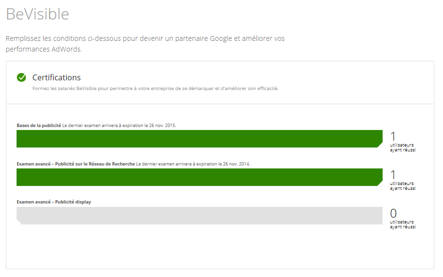 Certification Adwords individuelle