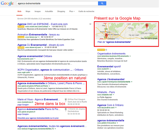 résultats de recherche géolocalisés