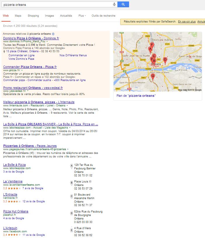 Résultats de recherche en réponse à une recherche de pizzeria géo-localisée à Orléans
