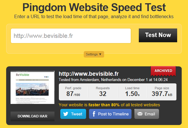 Essai Pingdom Website Speed Test