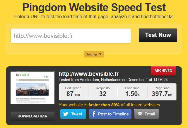 Essai Pingdom Website Speed Test